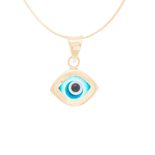 Yellow Gold Evil Eye Pendant  - Light Blue - 14 K - WEJ117