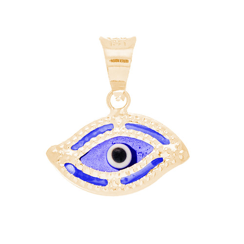 Yellow Gold Evil Eye Pendant  - Dark Blue - 14 K - WEJ119