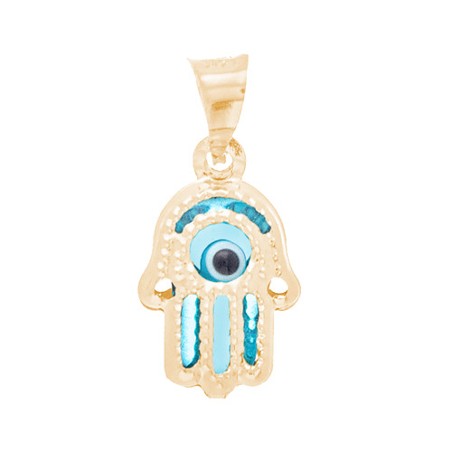 Yellow Gold Evil Eye Pendant  - Light Blue - 14 K - WEJ121