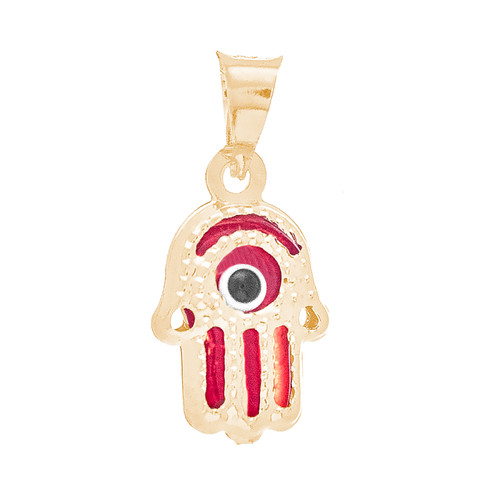 Yellow Gold Evil Eye Pendant  - Red - 14 K - WEJ122
