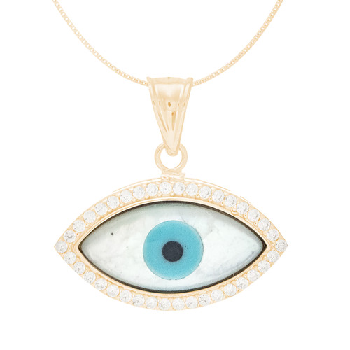 Yellow Gold  Mother of Pearl Evil Eye Pendant  - CZ - 14 K - WEJ124