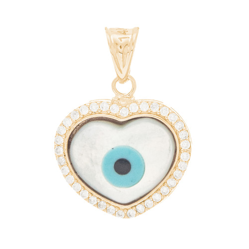 Yellow Gold  Mother of Pearl Evil Eye Pendant  - CZ - 14 K - WEJ125