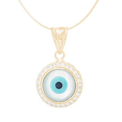 Yellow Gold  Mother of Pearl Evil Eye Pendant  - CZ - 14 K - WEJ127