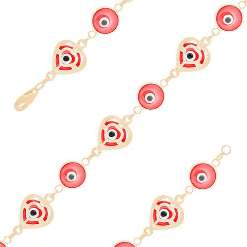 Yellow Gold Evil Eye Bracelet - Red - 14 K - BREE02
