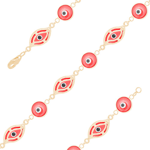 Yellow Gold Evil Eye Bracelet - Red - 14 K - BREE03
