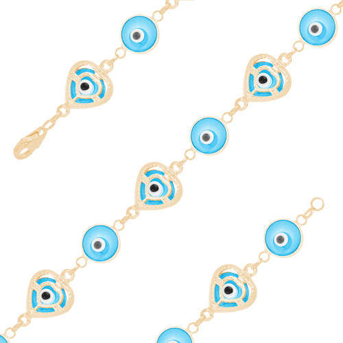 Yellow Gold Evil Eye Bracelet - Light Blue - 14 K - BREE06
