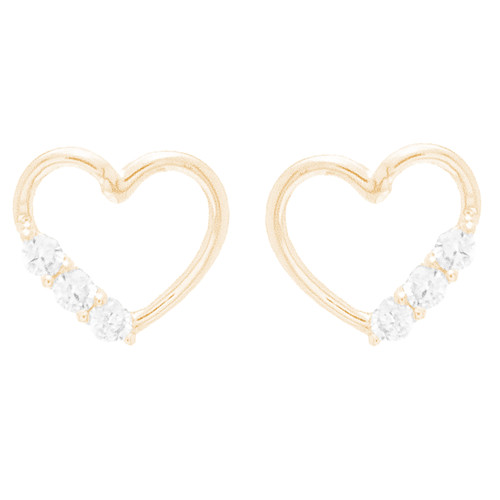 14kt Heart Shaped Stud Earrings With CZ Stones - ST0536