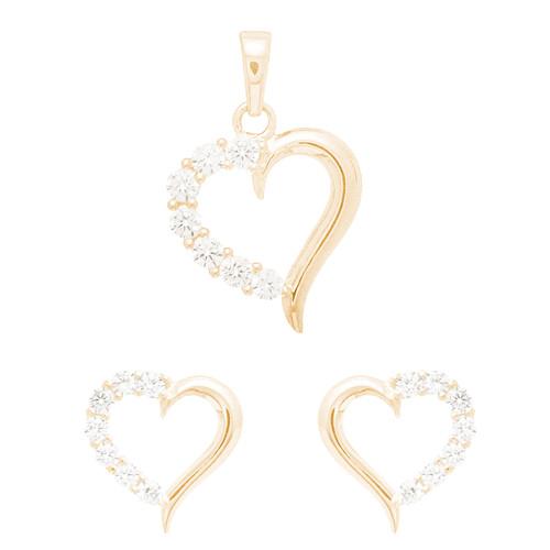 14kt Heart Shape  Pendant and Earrings Jewelry Set - PT0689