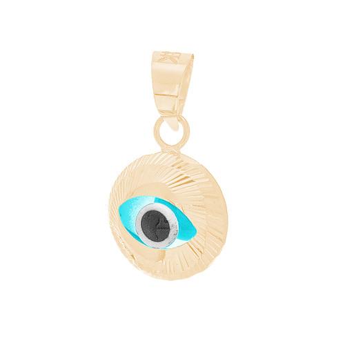 Yellow Gold Evil Eye Pendant  - CZ - 14 K - WEJ129