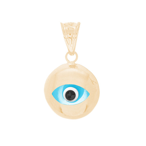 Yellow Gold Evil Eye Pendant  - CZ - 14 K - WEJ130