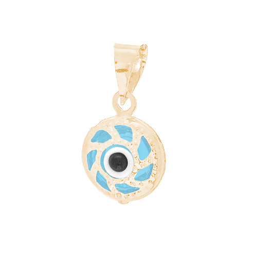 Yellow Gold Evil Eye Pendant  - CZ - 14 K - WEJ131