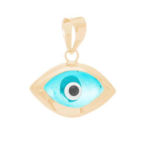 Yellow Gold Evil Eye Pendant  - CZ - 14 K - WEJ133