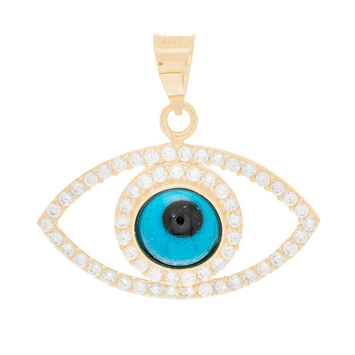 Yellow Gold Evil Eye Pendant  - CZ - 14 K - WEJ134
