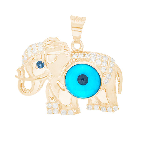 Yellow Gold Evil Eye Pendant - Elephant Design  - CZ - 14 K - WEJ135