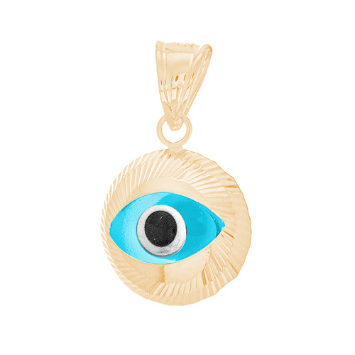Yellow Gold Evil Eye Pendant - 14 K - WEJ138