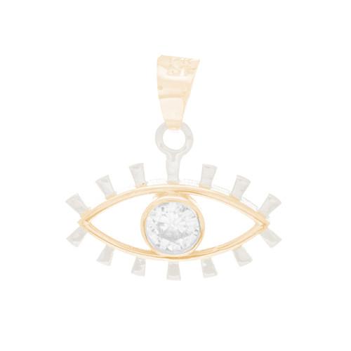 Solid Gold Evil Eye Pendant  - CZ - 14 K - WEJ141