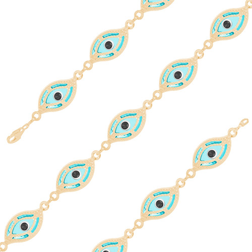 Yellow Gold Evil Eye Bracelet - Light Blue - 14 K - BREE08