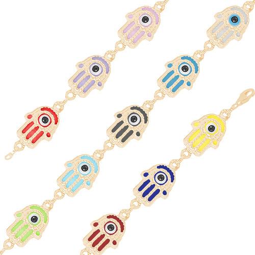 Yellow Gold Evil Eye Bracelet - Multi-Color - 14 K - BREE10