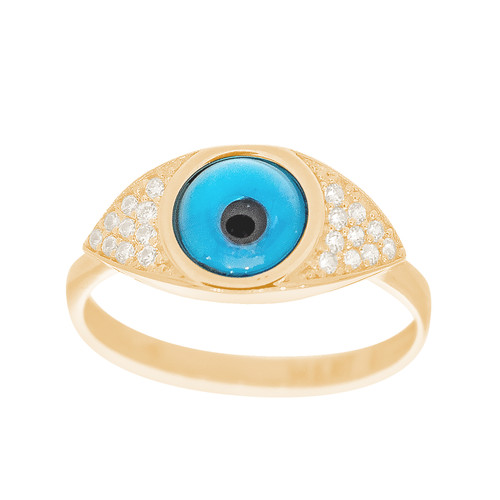 Yellow Gold Evil Eye Ring - CZ - 14 K - RNG-EE100