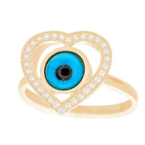 Yellow Gold Evil Eye Ring - CZ - 14 K - RNG-EE101