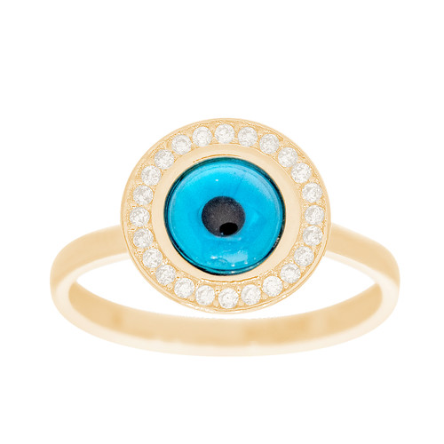 Yellow Gold Evil Eye Ring - CZ - 14 K - RNG-EE102