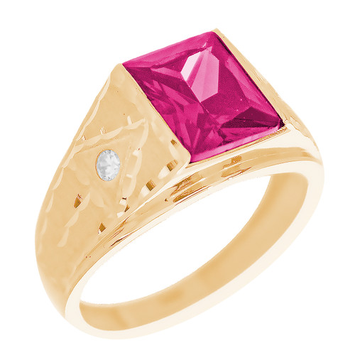 Yellow Gold 3 Stone Ring - CZ - 14 K - RNG-TPCZ1