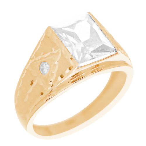 Yellow Gold 3 Stone Ring - CZ - 14 K - RNG-TPCZ2