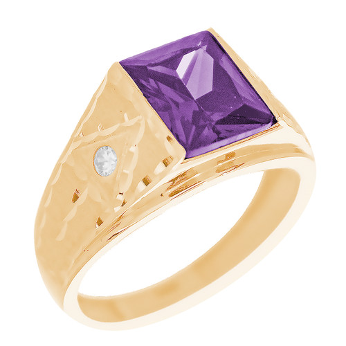 Yellow Gold 3 Stone Ring - CZ - 14 K - RNG-TPCZ4