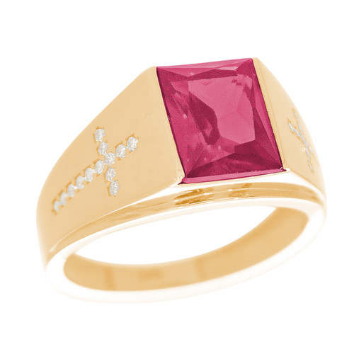 Yellow Gold 3 Stone Ring - CZ - 14 K - RNG-TPCZ5