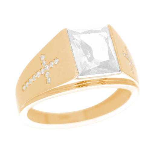 Yellow Gold 3 Stone Ring - CZ - 14 K - RNG-TPCZ6