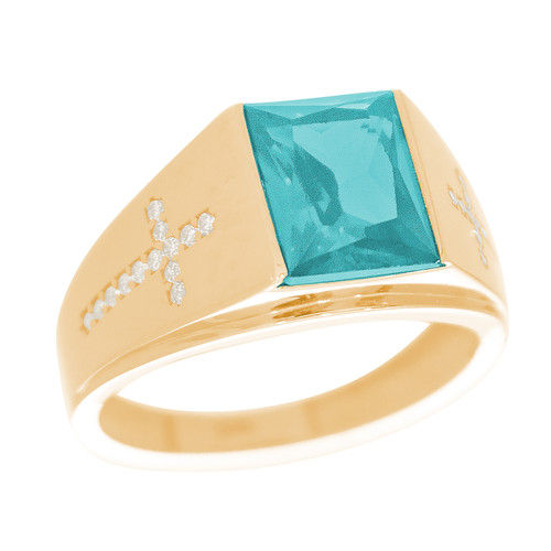 Yellow Gold 3 Stone Ring - CZ - 14 K - RNG-TPCZ7