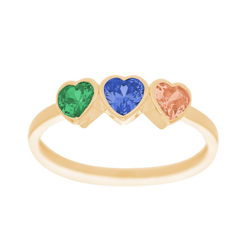 Yellow Gold 3 Heart Ring - CZ - 14 K - RNG-3HRT