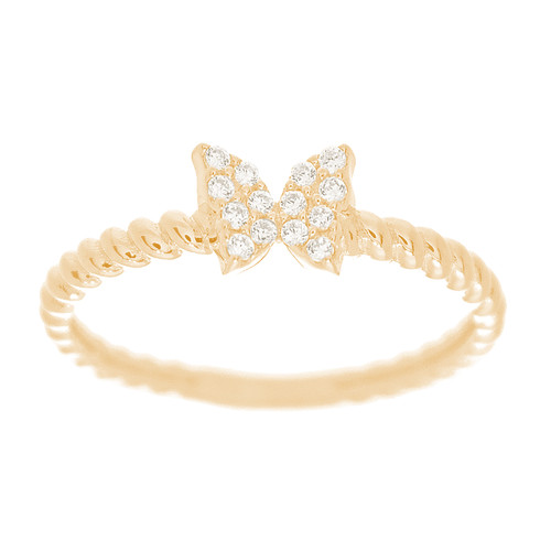 Yellow Gold Ring with Butterfly Design - CZ Stones - 14 K - RNG-BCZ
