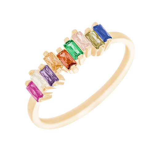 14kt Yellow Gold Ring with CZ Stones - RNG-BGCZ