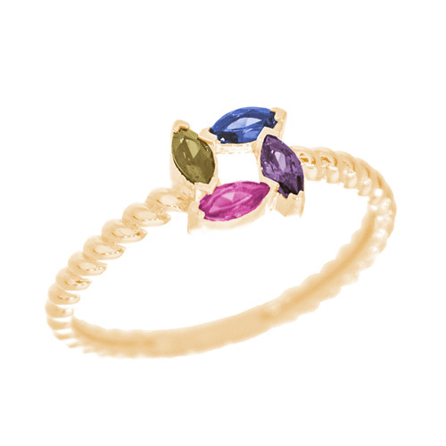 14kt Yellow Gold Ring with CZ Stones - RNG-MQCZ