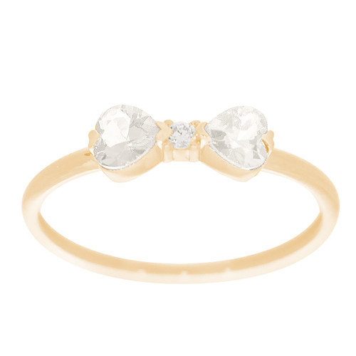 14kt Yellow Gold Ring with CZ Stones - RNG-HRTWCZ