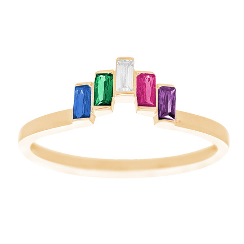 14kt Yellow Gold Ring with CZ Stones - RNG-BGSL