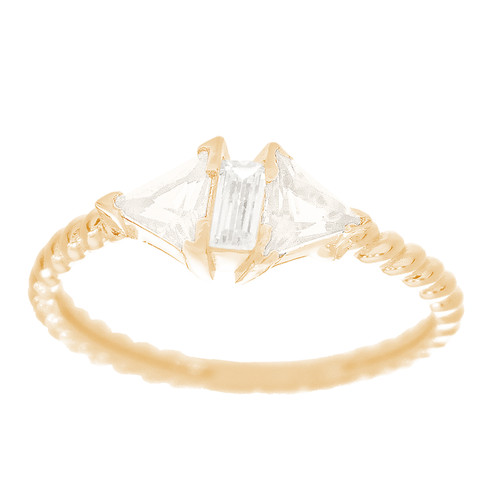 14kt Yellow Gold Ring with CZ Stones - RNG-44INC64