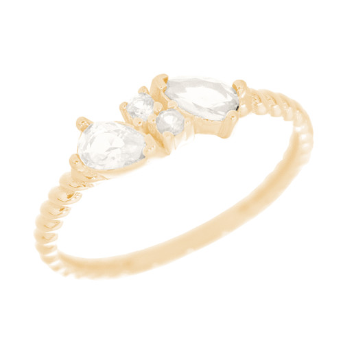 14kt Yellow Gold Ring with CZ Stones - RNG-INC38A