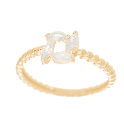 14kt Yellow Gold Ring with CZ Stones - RNG-44INC32A