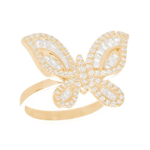 14kt Yellow Gold Ring with Butterfly Design - CZ Stones - RNG-1BSR00157
