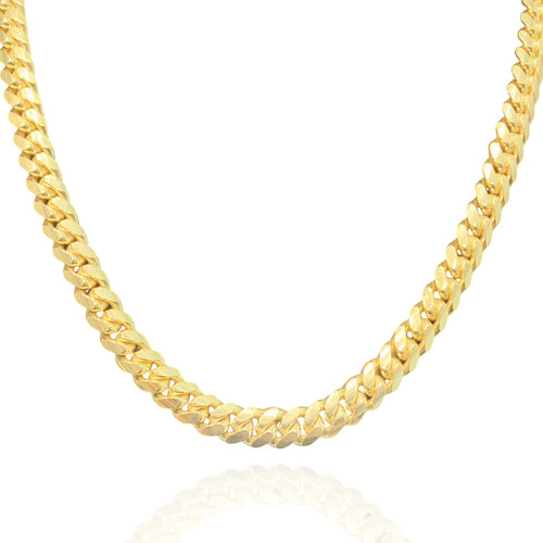 """9mm Solid Miami Cuban Link With Box Lock - 24"""", 26"""""""