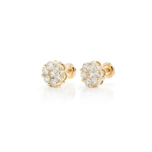 1.03cttw - 14kt VVVS/VS Diamond Cluster Earrings