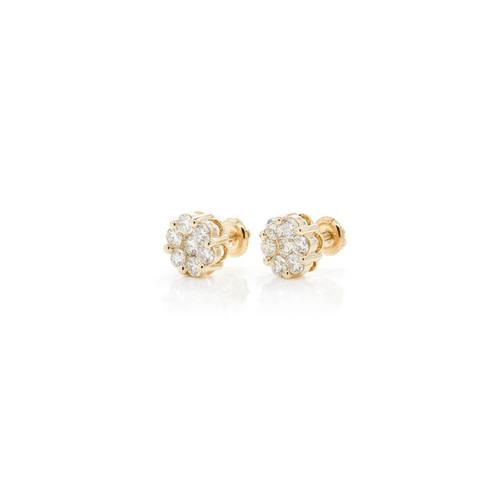 .65cttw - 14kt VVVS/VS Diamond Cluster Earrings