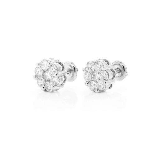1.03cttw - 14kt VVVS/VS Diamond Cluster Earrings - White Gold