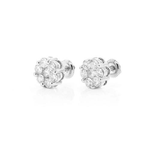 .86cttw - 14kt VVVS/VS Diamond Cluster Earrings - White Gold