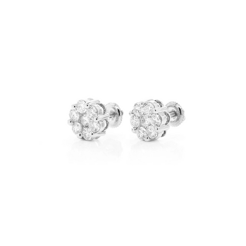 .65cttw - 14kt VVVS/VS Diamond Cluster Earrings - White Gold