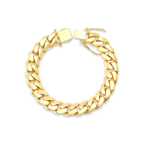 """11.5mm Solid Miami Cuban Link Bracelet With Box Lock - 9"""""""