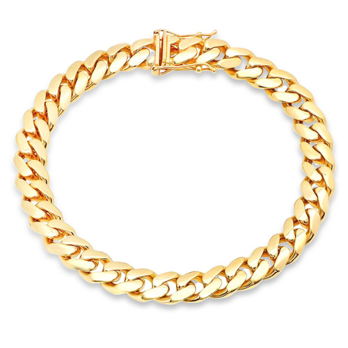 """7mm Solid Miami Cuban Link Bracelet With Box Lock - 8.5"""""""
