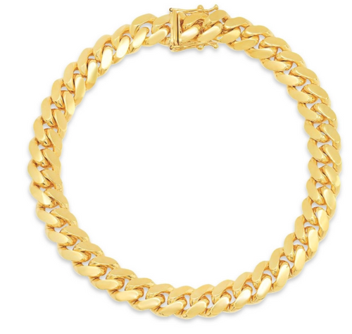 """8.5mm Solid Miami Cuban Link Bracelet With Box Lock - 9"""""""
